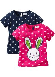 Baby-T-shirt (2-pack), ekologisk bomull, bpc bonprix collection, mörkpink/mörkblå