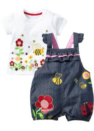 Baby t-shirt + jeanshängselbyxa (2 delar), bpc bonprix collection