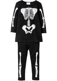 Klänning + leggings med skelettryck till Halloween, bpc bonprix collection