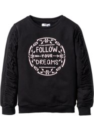 Sweatshirt med fransar, bpc bonprix collection, svart