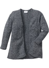 Stickad cardigan, bpc bonprix collection, antracitmelerad/ullvitmelerad