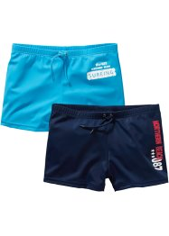 Badshorts pojkar (2-pack), bpc bonprix collection, mörkblå/turkos
