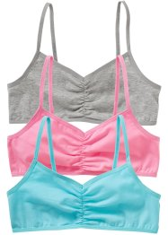 BH-topp (3-pack), bpc bonprix collection, aqua, rosa, ljusgråmelerad