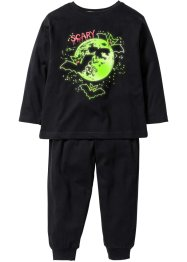 Pyjamas (2 delar) GLOW IN THE DARK, bpc bonprix collection, svart/fladdermus
