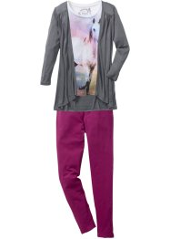 Topp + cardigan + leggings, bpc bonprix collection, ullvit/rökgrå/violett