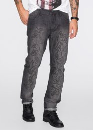 Jeans, normal passform, rakt ben, RAINBOW, antracit denim