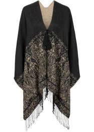 Poncho med ornament, bpc bonprix collection, svart/beige