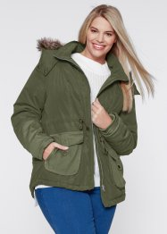 Kort parkas med kontrasttyg, bpc bonprix collection
