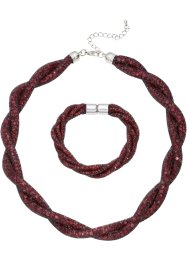 Set med halsband + armband, bpc bonprix collection, bordeaux