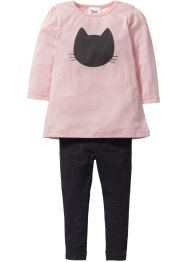Longshirt och leggings (2 delar), bpc bonprix collection, antracitmelerad/ljusrosa