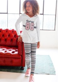 Luvtröja + leggings (2 delar), bpc bonprix collection, svart/ullvit, randig