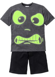 "Kort pyjamas (2 delar) ""GLOW IN THE DARK"", bpc bonprix collection, antracitmelerad/svart"