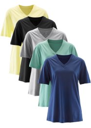 V-ringad longshirt, kortärmad (5-pack), bpc bonprix collection