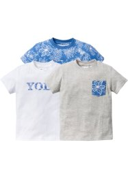 T-Shirt (3-pack), bpc bonprix collection, blue bleached+vit+naturmelerad