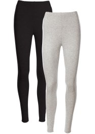 Stretchleggings (2-pack), bpc bonprix collection, ljusgråmelerad + svart