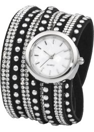 Lindat armbandsur med gnistrande strass, bpc bonprix collection