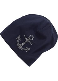 Beanie i jersey med strass, bpc bonprix collection, blå/ankare