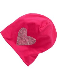 Beanie i jersey med strass, bpc bonprix collection, rosa/hjärta