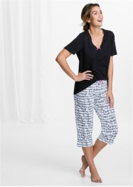Capripyjamas, bpc bonprix collection, svart/vit, med tryck