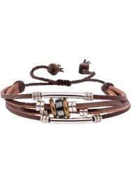 Läderarmband med 4 band, bpc bonprix collection, röd/cognac/vit