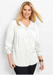 Blus med spetsdetaljer, bpc bonprix collection, ullvit