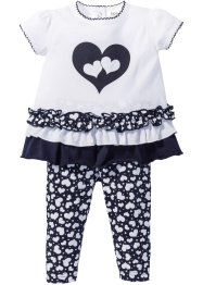 Baby T-shirt + leggings (2 delar), ekologisk bomull, bpc bonprix collection, vit/mörkblå