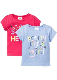 Baby-T-shirt (2-pack), ekologisk bomull, bpc bonprix collection, pärlblå/pink