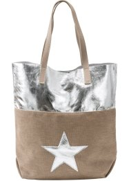 Shoppingväska med stjärnor i metallic-design, bpc bonprix collection, natur/silver