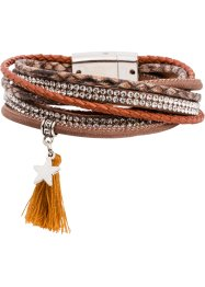 Omlottarmband med tofs, bpc bonprix collection, cognac