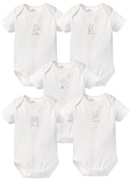 Kortärmad babybody (5-pack) i ekologisk bomull, bpc bonprix collection