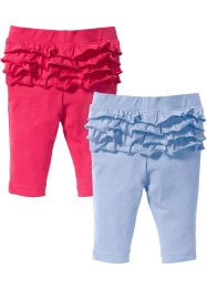 Babyleggings med rysch (2-pack), ekologisk bomull, bpc bonprix collection, pärlblå/pink