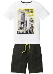 T-shirt + sweatbermudas (2 delar), bpc bonprix collection, vit/svart, mönstrad