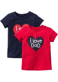 Baby-T-shirt (2-pack), ekologisk bomull, bpc bonprix collection, röd/mörkblå