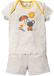 Baby-T-shirt + shorts (2 delar), ekologisk bomull, bpc bonprix collection, naturmelerad