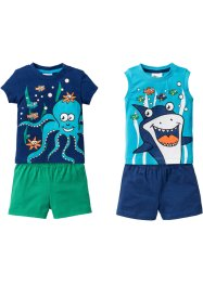 Baby-T-shirt + linne + två par shorts (4 delar), ekologisk bomull, bpc bonprix collection