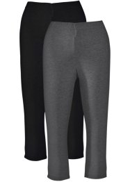 Caprileggings i stretch (2-pack), bpc bonprix collection, antracitmelerad + svart