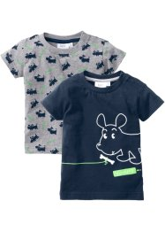 Baby-T-shirt, 2-pack, eko-bomull, bpc bonprix collection, ljusgråmelerad/mörkblå