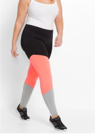 Sportleggings, långa, bpc bonprix collection, svart/neonlax/silvergrå