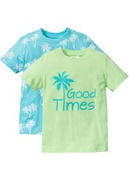 T-shirt (2-pack), bpc bonprix collection, mint+aqua, med tryck