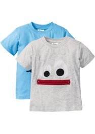 T-shirt (2-pack), bpc bonprix collection, naturmelerad+alpblå