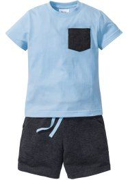 T-shirt + bermudashorts (2 delar), bpc bonprix collection, isblå/antracitmelerad
