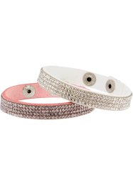 2-delat armbandsset, bpc bonprix collection, vit/pastellrosa