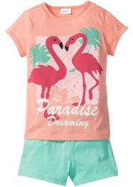 Kort pyjamas (2 delar), bpc bonprix collection, rosa/mint