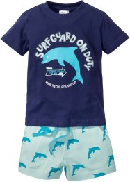 T-shirt + shorts (2 delar), bpc bonprix collection, midnattsblå/ljus mint