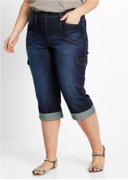 Cargojeans i stretch, caprilängd, bpc bonprix collection, darkblue stone
