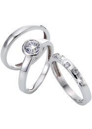 Ringset med zirkoner, 3 st, bpc bonprix collection, silver