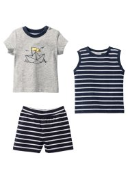 Baby-T-shirt + linne + shorts (3-delat set), ekologisk bomull, bpc bonprix collection