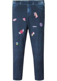 Leggings i denimlook med lapptryck, bpc bonprix collection