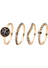 Ringset med svarta stenar, bpc bonprix collection