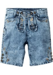 Lederhoseninspirerade jeansshorts, normal passform, RAINBOW